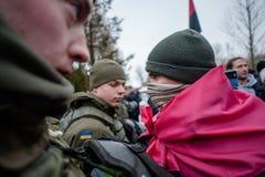 Ação do protesto sob a residência de Petro Poroshenko Imagens de Stock