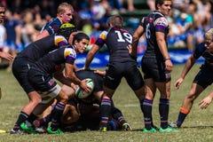 Bola do jogador que passa o rugby Outeniqua Fotografia de Stock Royalty Free