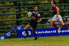 Rugby Outeniqua de Tryline da bola do jogador Fotos de Stock