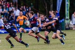 Rugby Running Westville da bola do jogador Imagem de Stock