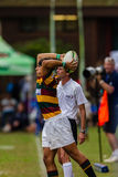 Rugby dianteiro Paarl Gymn da bola do lançamento Foto de Stock Royalty Free