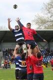 Ação do rugby - linha para fora Fotografia de Stock