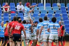 Ação do rugby - linha para fora Foto de Stock