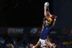 Ação do rugby - linha para fora Imagem de Stock