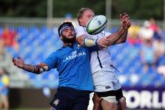 Ação do rugby - linha para fora Fotos de Stock