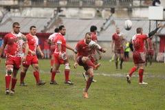 Ação do rugby - pontapé de gota Fotografia de Stock Royalty Free