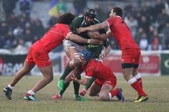 Ação do rugby, Roménia contra Geórgia (Sakartvelo) Fotos de Stock