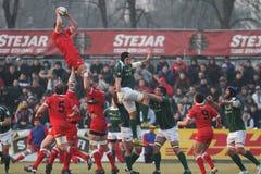 Ação do rugby, Roménia contra Geórgia (Sakartvelo) Foto de Stock