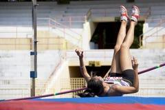 Ação do salto elevado das mulheres Fotografia de Stock Royalty Free