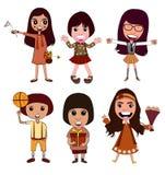 Ação do vetor da menina dos desenhos animados Imagem de Stock Royalty Free