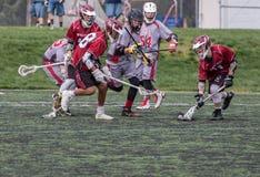 Ação em um jogo da lacrosse Imagens de Stock Royalty Free
