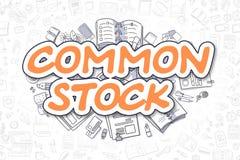 Ações comuns - inscrição da laranja da garatuja Conceito do negócio Imagens de Stock Royalty Free