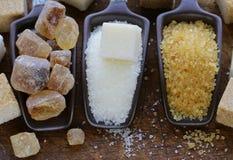 Açúcar de Brown, branco e refinado Fotografia de Stock