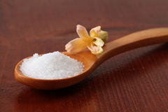 Açúcar de rodízio em uma colher de madeira foto de stock