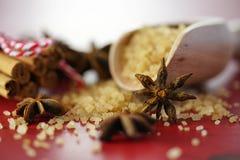 Açúcar do café, canela e close up do macro do edulcorante do café do anis de estrela Imagens de Stock