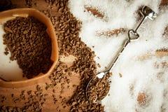Açúcar e cofee Imagens de Stock Royalty Free