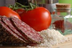 Aç6frão, tomate e arroz Fotografia de Stock Royalty Free