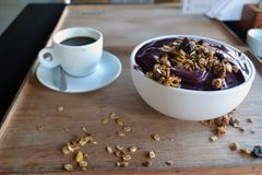 Açaí bowl with cereals. Tipical food in Brazil royalty free stock photography