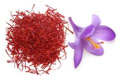Açafrão da flor e especiaria secada do açafrão Fotos de Stock Royalty Free