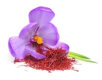 Açafrão da flor e especiaria secada do açafrão Foto de Stock Royalty Free