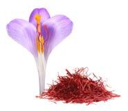 Açafrão da flor e especiaria secada do açafrão Imagens de Stock