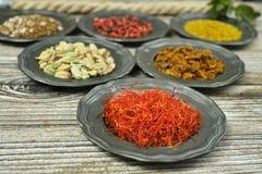 Açafrão e especiarias e ervas vermelhos em umas bacias do metal Foto de Stock Royalty Free