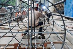 Aço chinês da soldadura do trabalhador Imagem de Stock