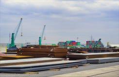 Aço no porto Imagens de Stock Royalty Free