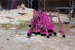 Aço ou ferro sob o terreno de construção da construção Imagem de Stock