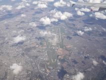 View from the air of the airport of Charles de Gaulle, Paris, France. royalty free stock photos