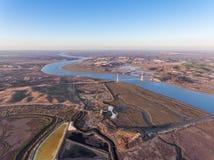 aéreo Campos Textured de lagos de sal pantanosos Vila Real Santo Antonio Imagem de Stock Royalty Free