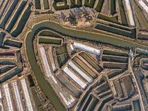 aéreo Campos texturizados de los lagos de sal cenagosos Salines Portugal Vila Real Santo Antonio Fotos de archivo