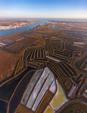 aéreo Lagos y pantanos salt filmados del cielo Imagen de archivo