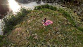 Aéreo: mãe nova com suas filhas do bebê em um piquenique em um parque - zangão morno da cena do verão da cor dos valores familiar vídeos de arquivo