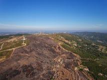 aéreo Montañas de Foya de la aerofotografía en Monchique Imágenes de archivo libres de regalías