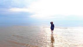 Aéreo: mujer joven en vestido brillante azul que camina alrededor - de paisaje amarillento escénico de la puesta del sol del agua almacen de video