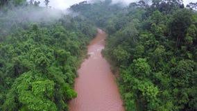 Aéreo - río de los rápidos de Whitewater en el bosque Tailandia metrajes