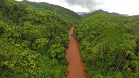 Aéreo - río de Whitewater en el bosque Tailandia metrajes