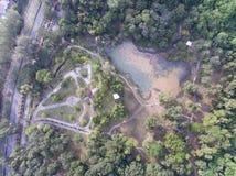 Aéreo - remate abajo de vista de un parque Fotos de archivo libres de regalías