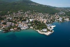 Aérez la photo d'Opatija la Riviera sur la Mer Adriatique en Croatie Image stock