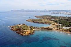 Aérez la photographie, plage d'Agioi Apostoli, Chania, Crète, Grèce Image libre de droits