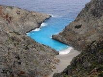 Aérez la photographie, plage de Seitan Limania, Chania, Crète, Grèce Images stock