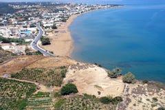 Aérez la photographie, plage de Stalos, Chania, Crète, Grèce Photographie stock