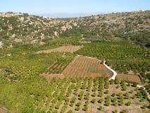 Aérez la photographie, terre de Crète, plateau, Chania, Crète Photo stock