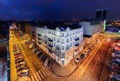 Aérez le panorama de vue de Katowice pendant l'hiver, Pologne Photos stock