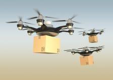 Aérez les bourdons portant des boîtes en carton en ciel de coucher du soleil Image libre de droits