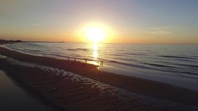 Sunset north sea. Aérial view of north sea with sunset beach, tide, sand, strand located Dunkerque stock video