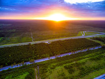 Aérien - le soleil plaçant au-dessus de l'Alabama Photos libres de droits