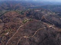 aérien Terrain de Monchique sur la montagne Foya, après le feu Images stock