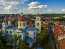 aérien Vilnius, Lithuanie : Église orthodoxe et monastère de Saint-Esprit, Photographie stock